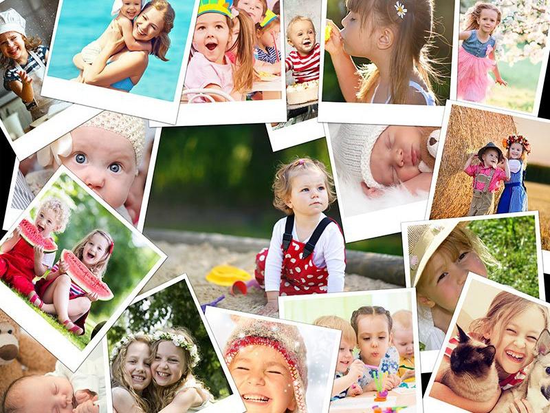 Fotopuzzle-Collagen Stapel mit 17 Bildern