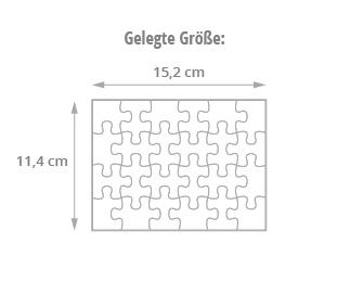 Gelegte Größe des Message-Puzzles