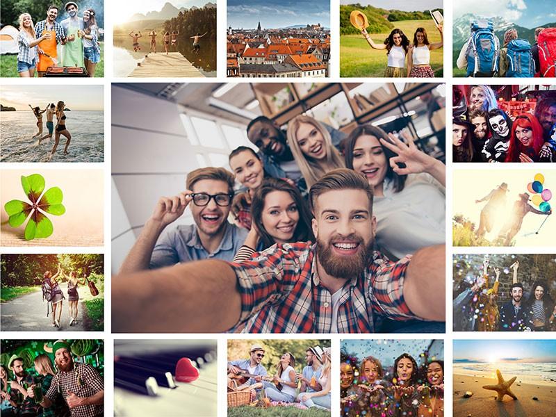 Fotopuzzle-Collage mit einfachem Raster und 17 Bildern