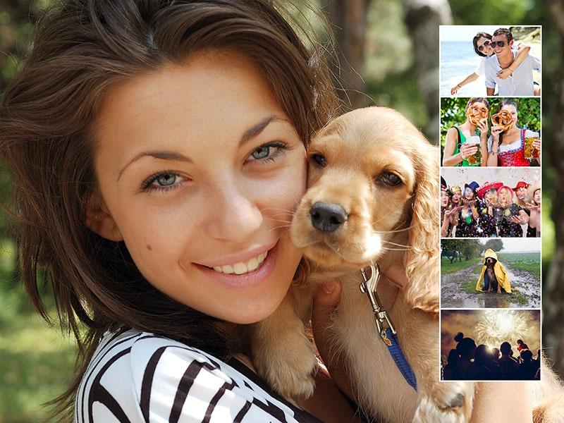Fotopuzzle-Collage mit eigenem Hintergrund und insgesamt 6 Bildern
